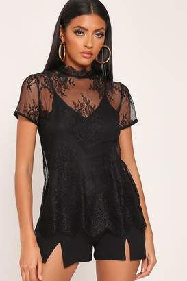 I SAW IT FIRST Black High Neck Mesh Lace Top