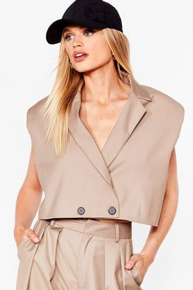 Nasty Gal Womens When It Suits You Shoulder Pad Cropped Blazer - Beige - 14
