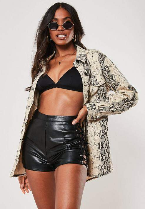 Missguided Black Faux Leather Lace Up Side Shorts