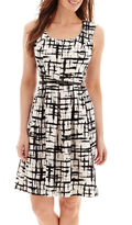 Evan Picone BLACK LABEL BY EVAN-PICONE Black Label by Evan-Picone Cap-Sleeve Print Belted Piqu Fit-and-Flare Dress
