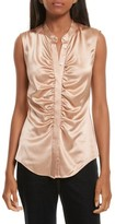 Theory Women's Ruched Fitted Stretch Silk Blouse