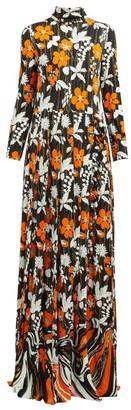 Prada Floral Print High Neck Organza Dress - Womens - Orange