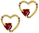 Gem Stone King 1.14 Ct Heart Shape Red Garnet and White Diamond 18k Yellow Gold Earrings