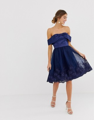 Chi Chi London Off Shoulder Midi Dress with Bow Front and Premium Lace Detail-Navy