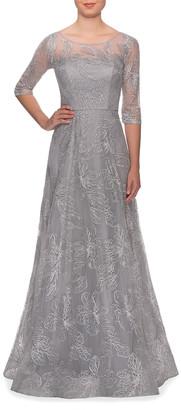 La Femme Lace Illusion 3/4-Sleeve A-Line Gown