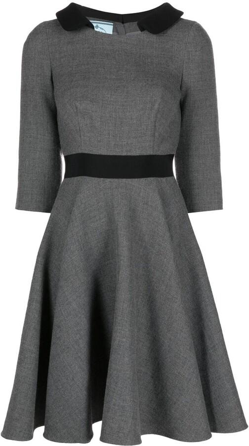 Prada Pre-Owned Three-Quarter Sleeves Flared Dress