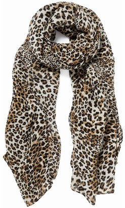 Forever New Edie Leopard Print Pleated Scarf Chestnut