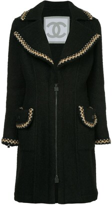 Chanel Pre Owned Zigzag Trims Zipped Coat