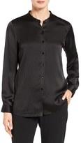 Eileen Fisher Women's Hammered Silk Satin Mandarin Collar Blouse