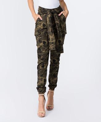 American Bazi Women's Denim Pants and Jeans - Camouflage Tie-Waist Cargo Joggers - Women