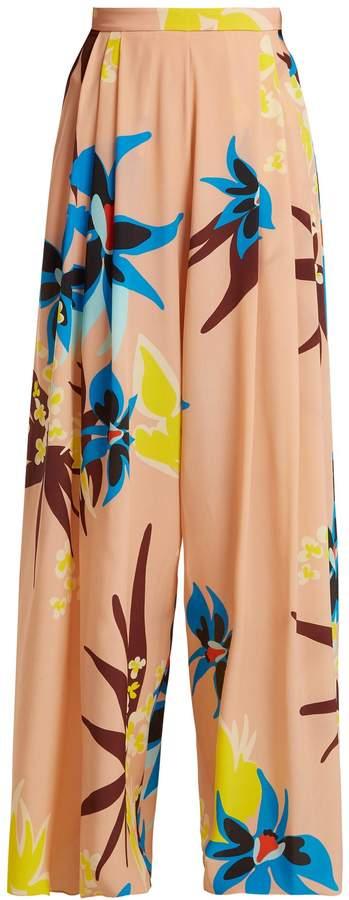 DELPOZO Wide-leg Hibiscus-print silk trousers