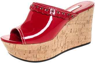 Casadei Red Patent Leather Cork Platform Wedge Sandals Size 37.5