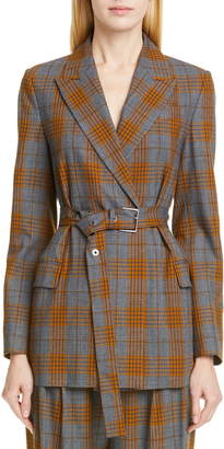 Brunello Cucinelli Belted Glen Plaid Blazer