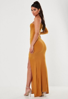 Missguided Slinky One Sleeve Ruched Maxi Dress