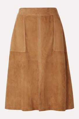 Frame Paneled Suede Skirt - Camel