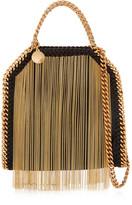 Stella McCartney The Falabella Tiny Fringed Faux Brushed-leather Shoulder Bag - Black