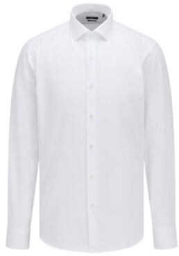 BOSS Regular-fit shirt in cotton twill with spread collar