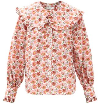 Sea Leslie Peter Pan-collar Cotton-poplin Blouse - Pink
