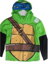 Nickelodeon Little Boys Black Ninja Turtles Print Hooded Shirt