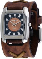 Nemesis #BFXB049B Men's Sunray Rectangular Brown Dial Wide Leather Cuff Band Watch