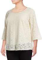 Style And Co. Plus Bell Sleeve Lace Top