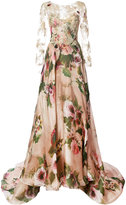 Marchesa lace panel flared gown