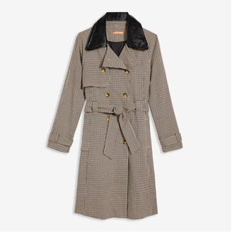 Joe Fresh Women's Plaid Trench Coat, Dark Tan (Size S)