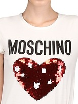Moschino Sequin Heart Logo Cotton Jersey T-Shirt