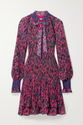 Derek Lam 10 Crosby Eugenia Printed Plisse-chiffon Mini Dress - Bright pink