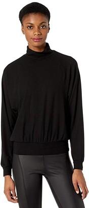 YEAR OF OURS Jane Mock Neck Sweatshirt (Black) Women's Sweatshirt