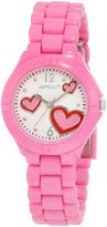 Sprout Women's ST/4009WTPK Heart Theme Printed Dial Pink Corn-Resin Bracelet Watch