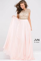 Jovani Cap Sleeve Crystal Embellished Bodice Chiffon Dress JVN47897