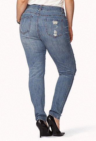 Forever 21 Edgy Destroyed Skinny Jeans