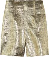 High-waisted lamé shorts