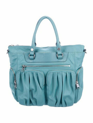 MZ Wallace Leather-Trimmed Nylon Satchel Blue