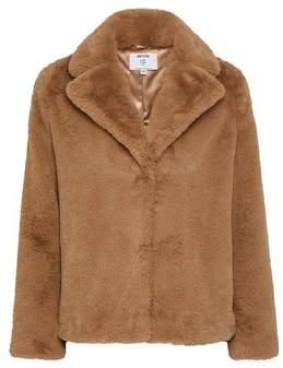 Dorothy Perkins Womens Petite Brown Short Faux Fur Coat, Brown