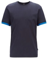 HUGO BOSS - Woven T Shirt In Liquid Cotton With Jersey Back Panel - Dark Blue