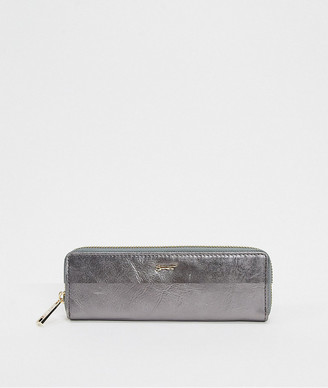 Paul Costelloe real leather gunmetal zip around purse with matching card holder-Multi