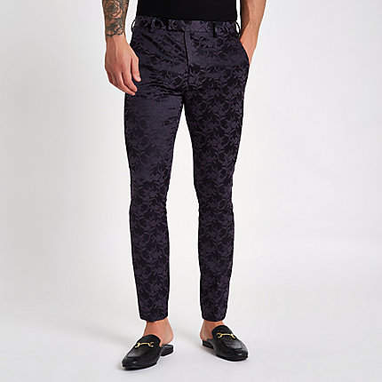 River Island Mens Purple floral skinny fit suit trousers