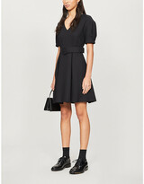 Claudie Pierlot Belted V-neck crepe mini dress