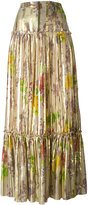 Etro pleated maxi skirt - women - Silk/Metallic (Grey) Fibre - 48