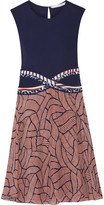 Diane von Furstenberg Rosalie Jersey And Printed Chiffon Dress - Navy