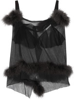 Maison Margiela Feather-trimmed cutout mesh top