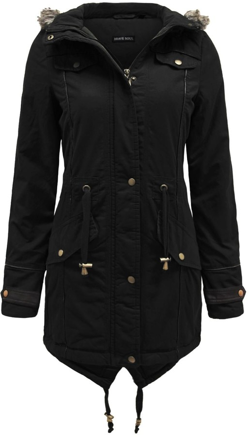 Thumbnail for your product : Brave Soul Ladies Fur Oversized Hood Military Fishtail Padded Parka Coat Jacket [Uk 8]