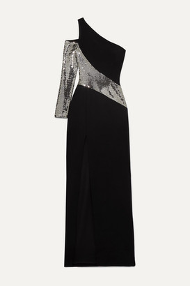 Rasario One-sleeve Sequin-embellished Crepe Gown - Black