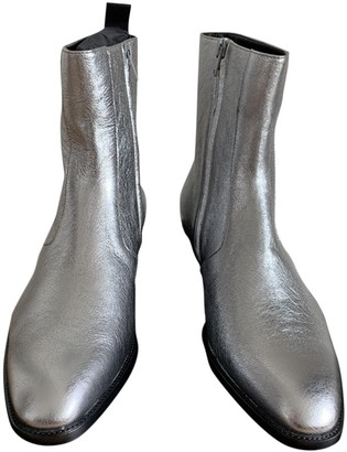 Saint Laurent Lukas Silver Patent leather Boots