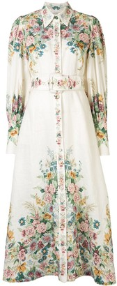 Zimmermann Floral-Print Belted Shirt Dress