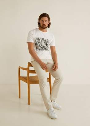 MANGO MAN - Cotton printed t-shirt off white - XS - Men