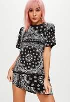 Missguided Petite Black Scarf Print T Shirt Dress