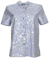 Kenzo Platinum Printed Blue And White Striped Shirt